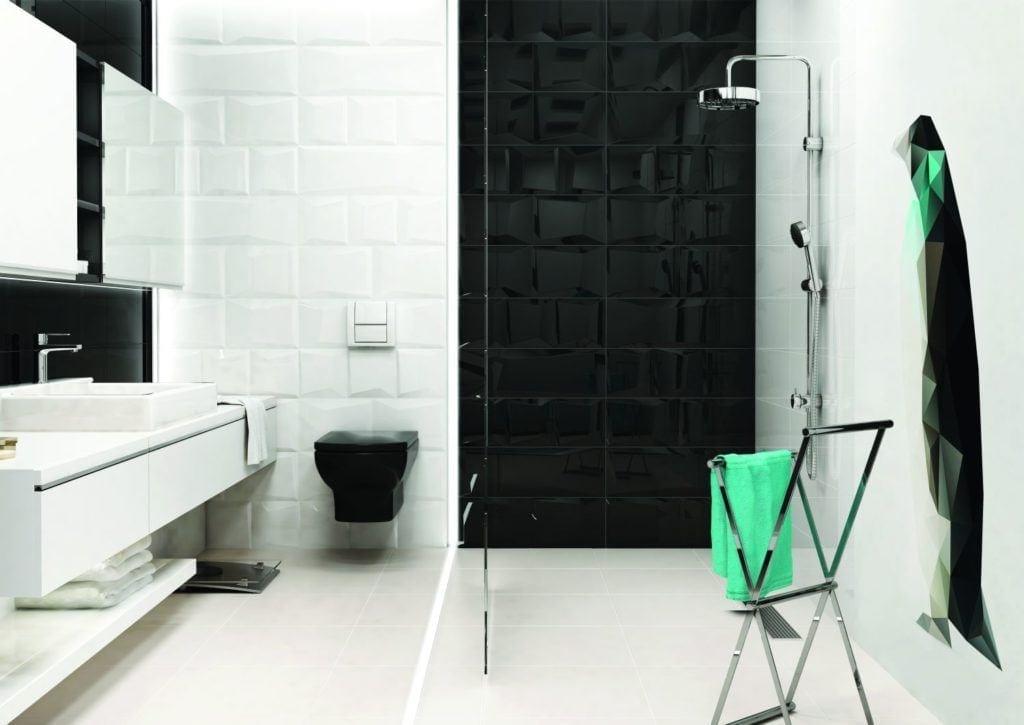 Czarno-biała łazienka - Płytki ceramiczne Ceramika Paradyz kolekcja Maloli