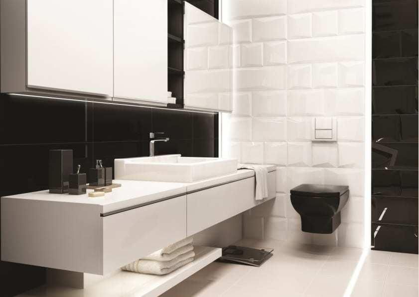 Biało-czarna łazienka - płytki ceramiczne Ceramika Paradyz kolekcja Maloli