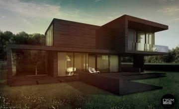 Dom z płaskim dachem w krajobrazie polskiej wsi