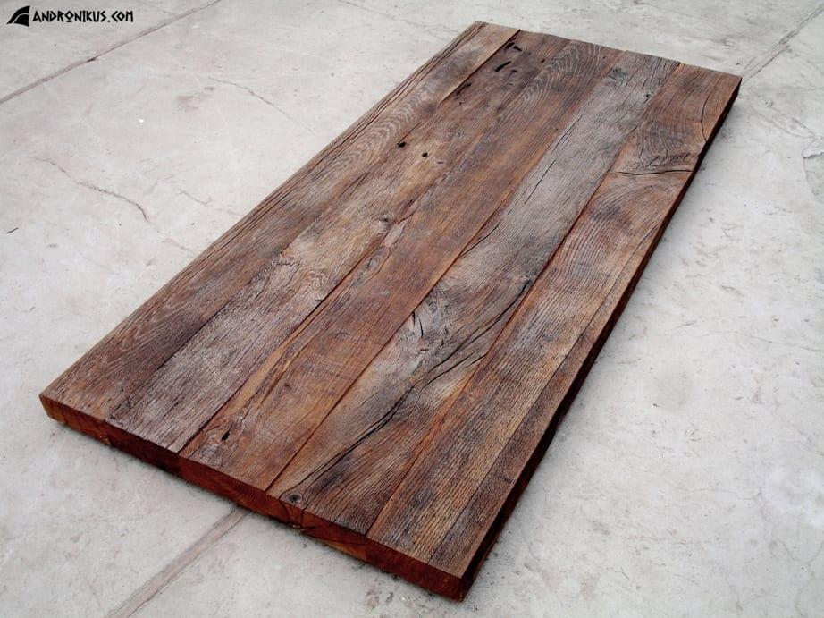 Andronikus ciemny blat stołu ze starego drewna, stare deski, drewno z recyklingu