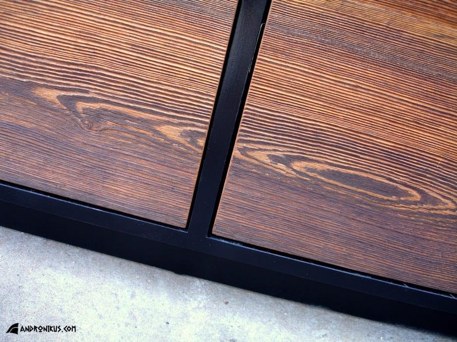 Andronikus metalowy detal komody ze starego drewna, stare deski, drewno z recyklingu