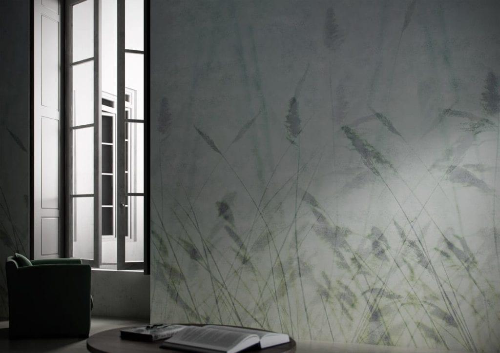 Jasna grafika ścienna z motywem zielonego kłosa od włoskiej marki Glamora