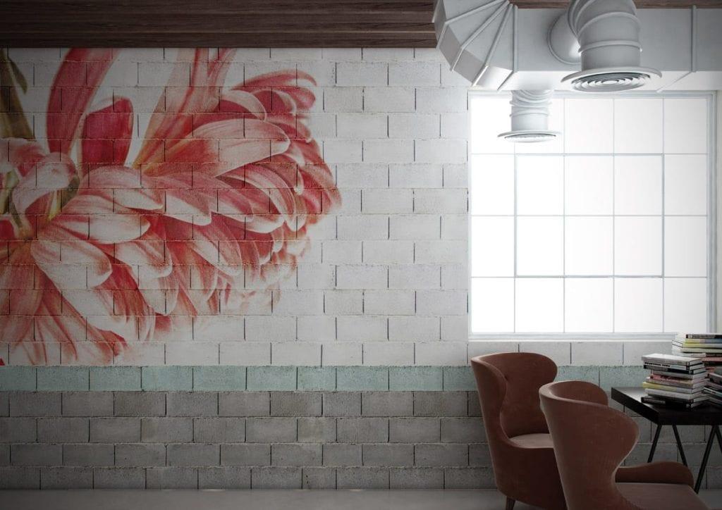 Jasna grafika ścienna z motywem czerwonego liścia od włoskiej marki Glamora