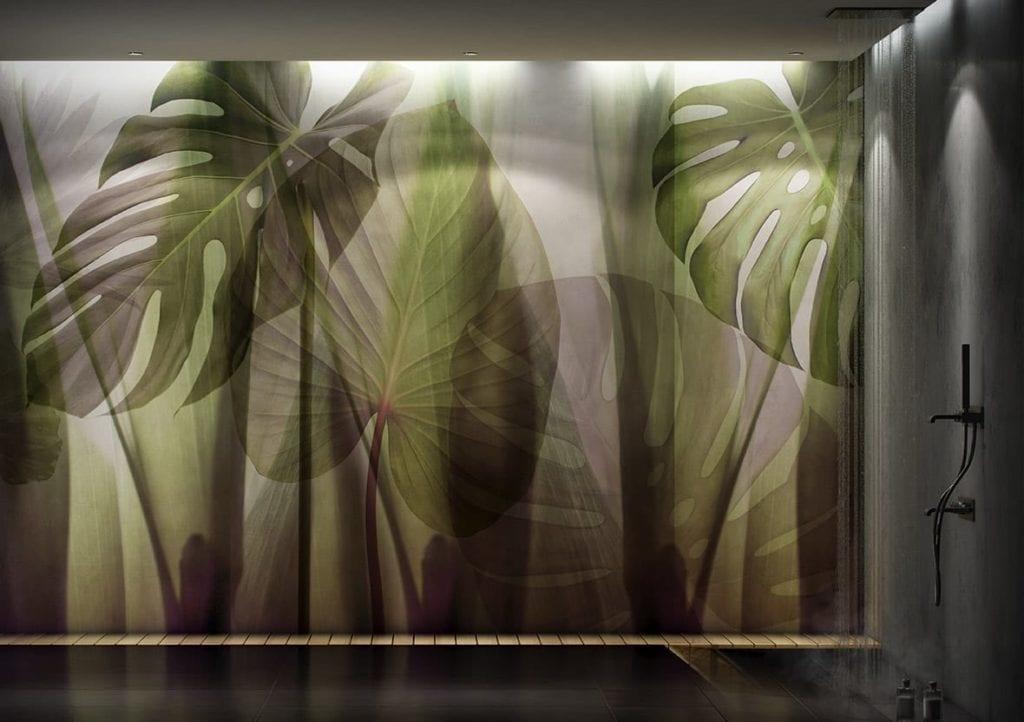 Jasna grafika ścienna z motywem liści monster od włoskiej marki Glamora