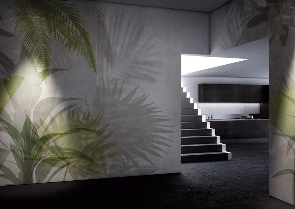 Jasna grafika ścienna z motywem zielonych liści od włoskiej marki Glamora