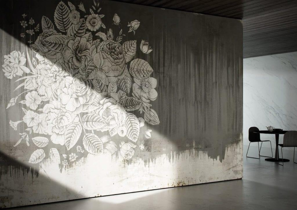 Jasna grafika ścienna z motywem szarych roślin od włoskiej marki Glamora