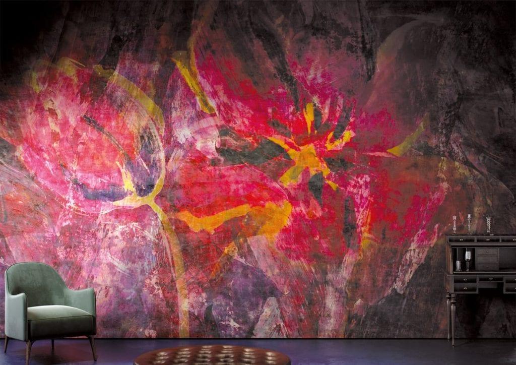 Jasna grafika ścienna z motywem czerwonych liści od włoskiej marki Glamora