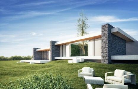 Dom kaskadowy z kamiennymi ścianami