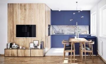 Duet idealny: drewno i niebieskie meble w projekcie BOLD Design