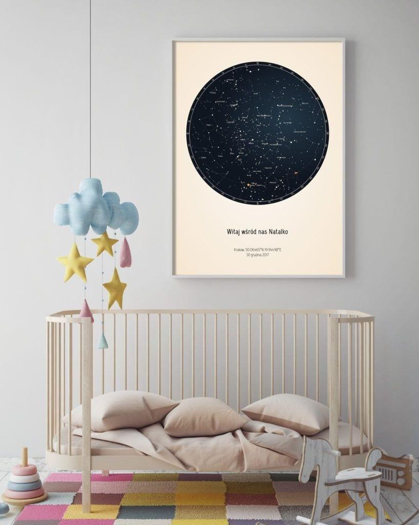 Strellas gwiezdne plakaty z mapą nieba w pokoju dziecięcym