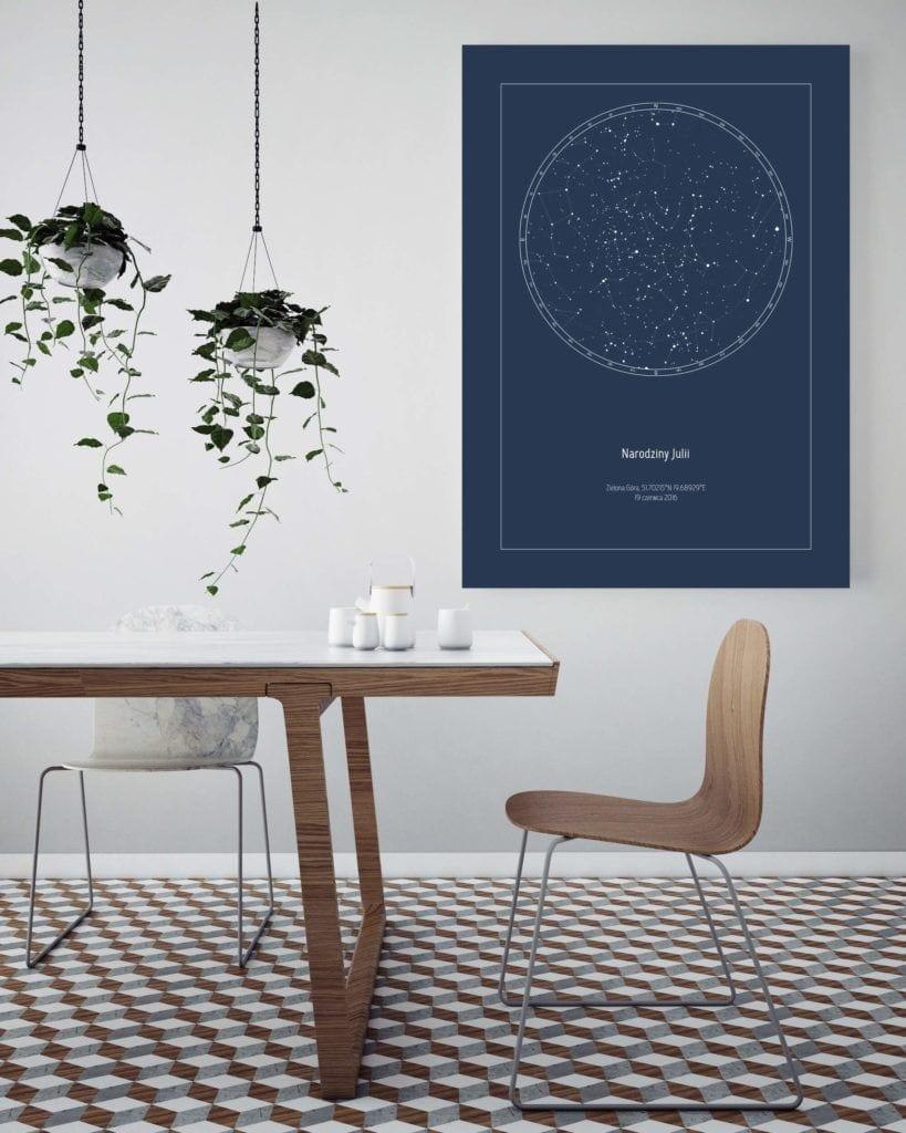 Strellas gwiezdne plakaty z mapą nieba w jadalni
