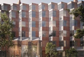 Zygzakowata fasada budynku w Berlinie