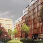 Fasada kompleksu miejskiego budynków mieszkalnych i biurowych Browary Warszawskie