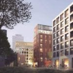 Wizualizacja kompleksu miejskiego budynków mieszkalnych i biurowych Browary Warszawskie