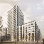 Front kompleksu miejskiego budynków mieszkalnych i biurowych Browary Warszawskie
