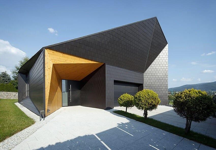 Widok z góry na dom Czarna Skała projektu Mus Architects