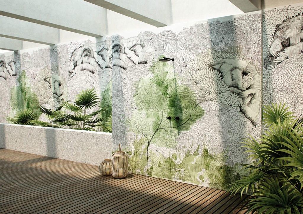 Wodoodporna tapeta z kolekcji GlamFusion od Glamora dostępna w Dekorian Home. Tapeta w zielone wzory.