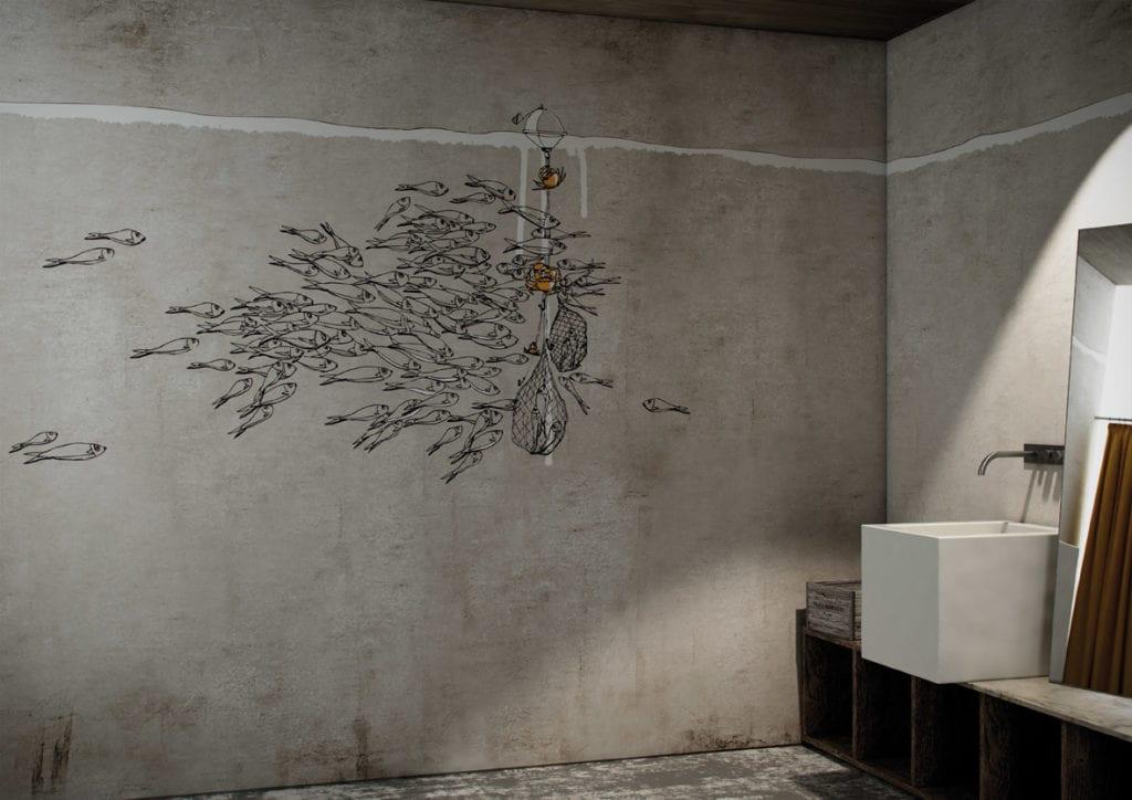 Wodoodporna tapeta z kolekcji GlamFusion od Glamora dostępna w Dekorian Home. Tapeta z symbolem natury.