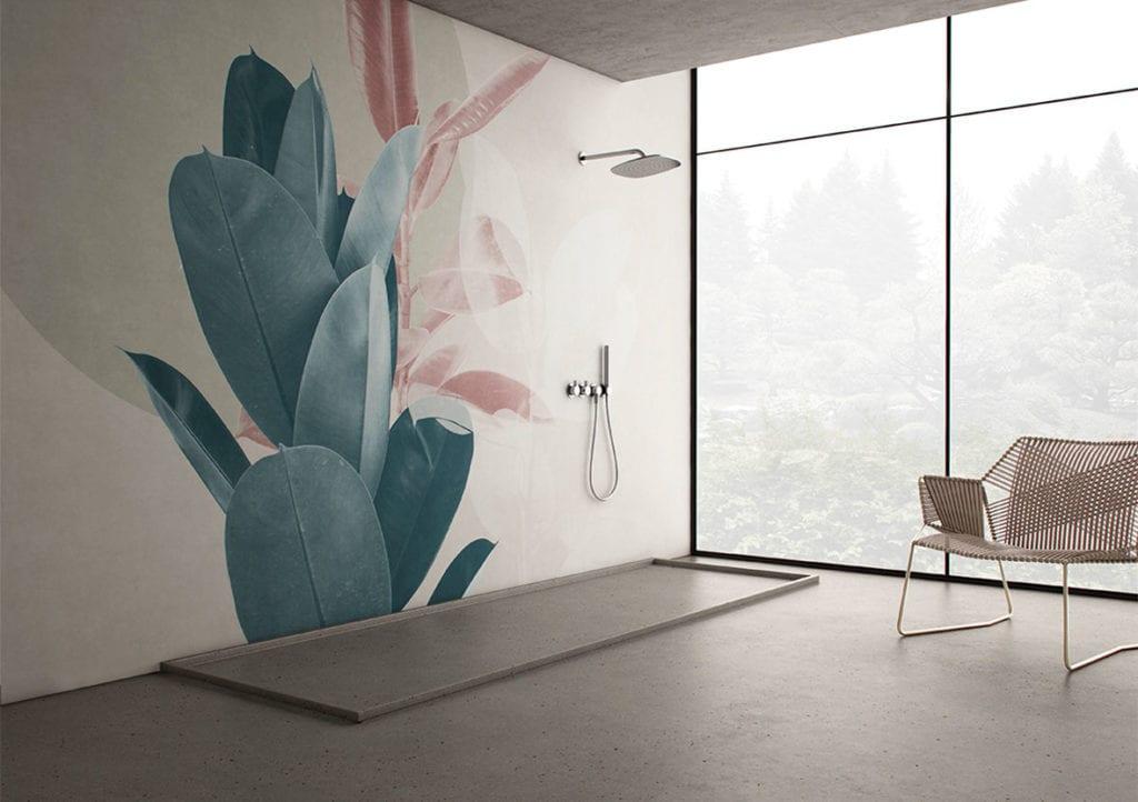 Wodoodporna tapeta z kolekcji GlamFusion od Glamora dostępna w Dekorian Home. Tapeta z wzorem niebieskie liście.