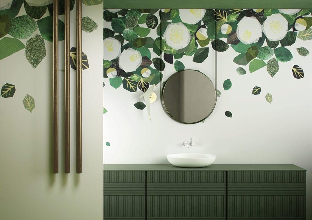 Wodoodporna tapeta z kolekcji GlamFusion od Glamora dostępna w Dekorian Home. Tapeta w zielone koła.
