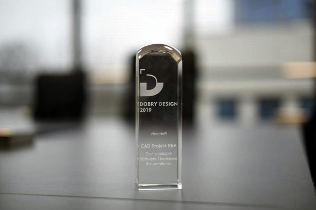 Statuetka będąca nagrodą w nagrodzie Dobry Design 2019 zdobyta przez Vinterior by CAD Projekt