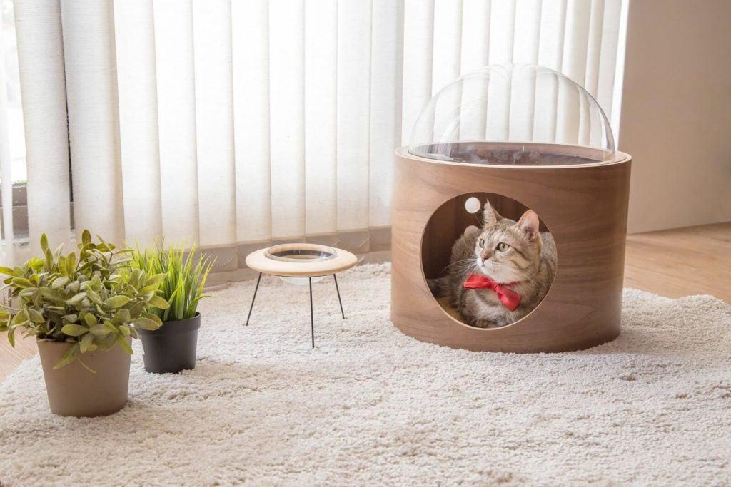 Domek dla kota inspirowany statkiem kosmicznym MyZoo Studio Alpha Beta Gamma