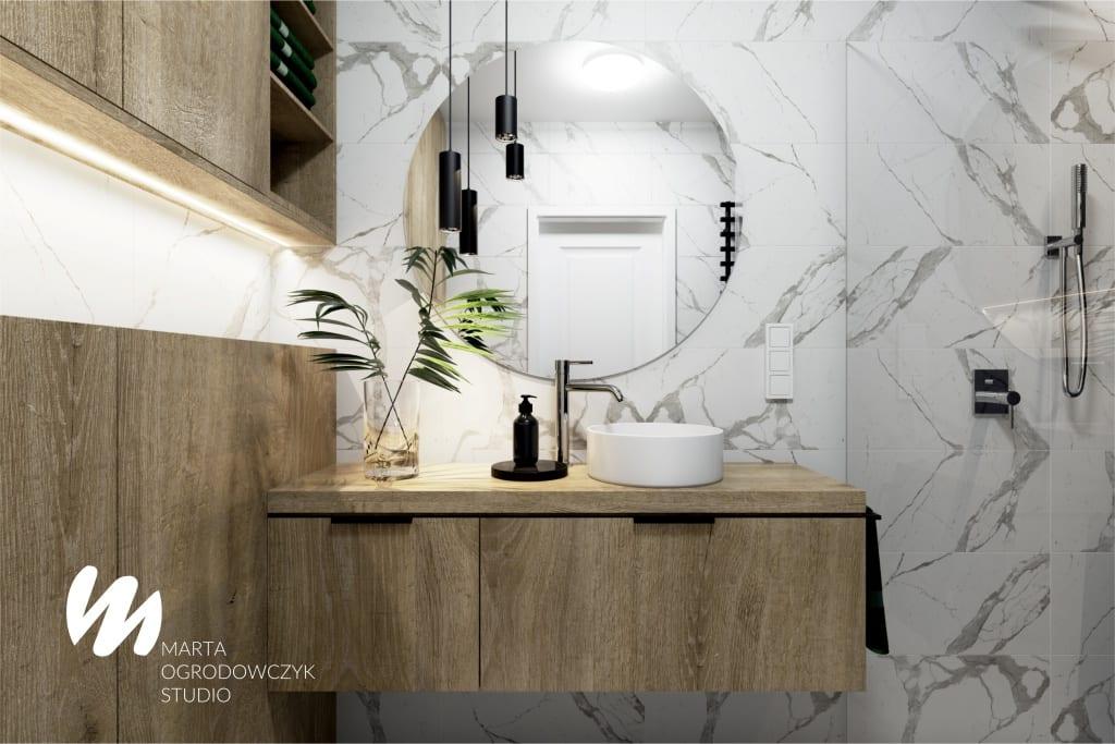 Łazienka z czarną jodełką projektu Marta Ogrodowczyk Studio