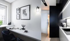 Monochromatyczna kuchnia w bloku projektu Besign Studio