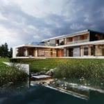 Water Mansion House projektu JMW Architekci położony nad wodą