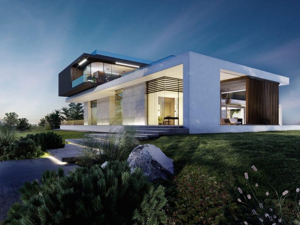 Biały Water Mansion House zaprojektowany przez JMW Architekci