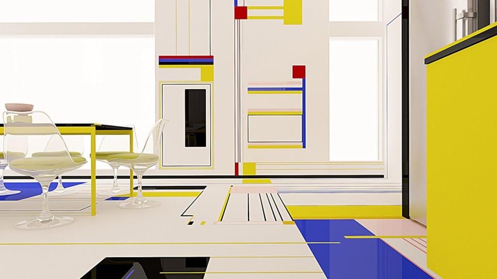 apartament z abstrakcyjnymi obrazami