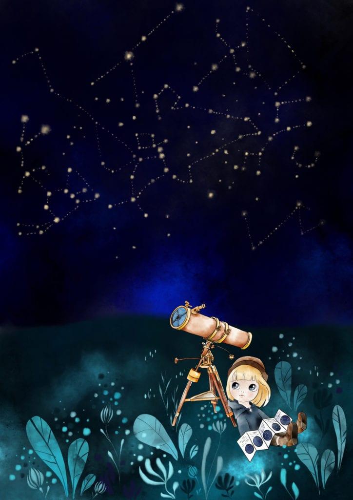 Plakat z małym astronomem projektu MashTo