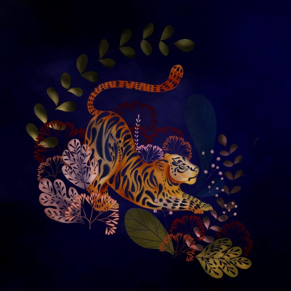 Ciemny plakat z tygrysem