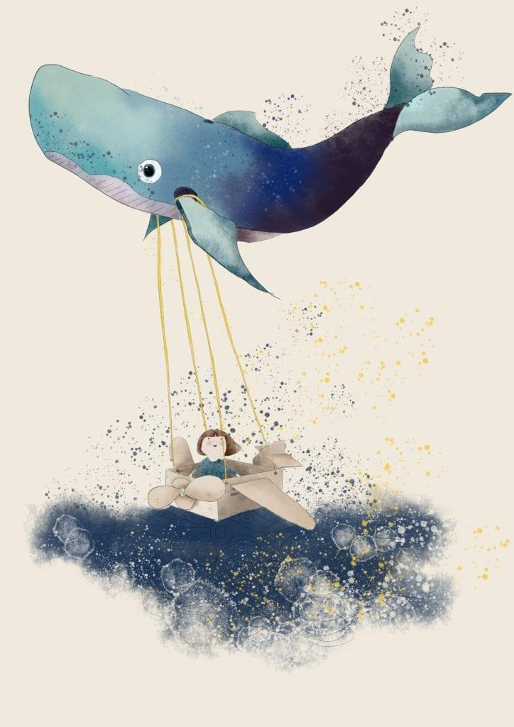 Plakat z wielorybem projektu Magdy Piesty z MashTo