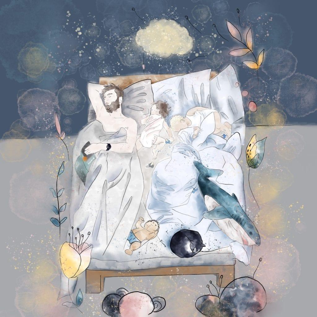 Plakat ze śpiącą rodziną projektu MashTo