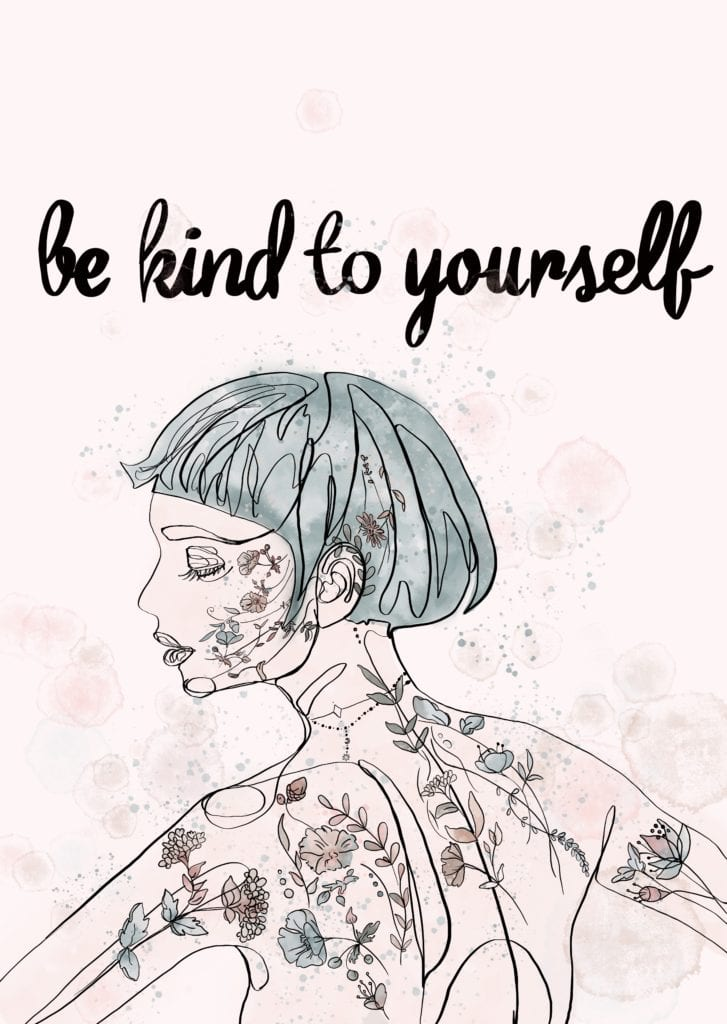 """Plakat """"be kind to yourself"""" projektu MashTo"""