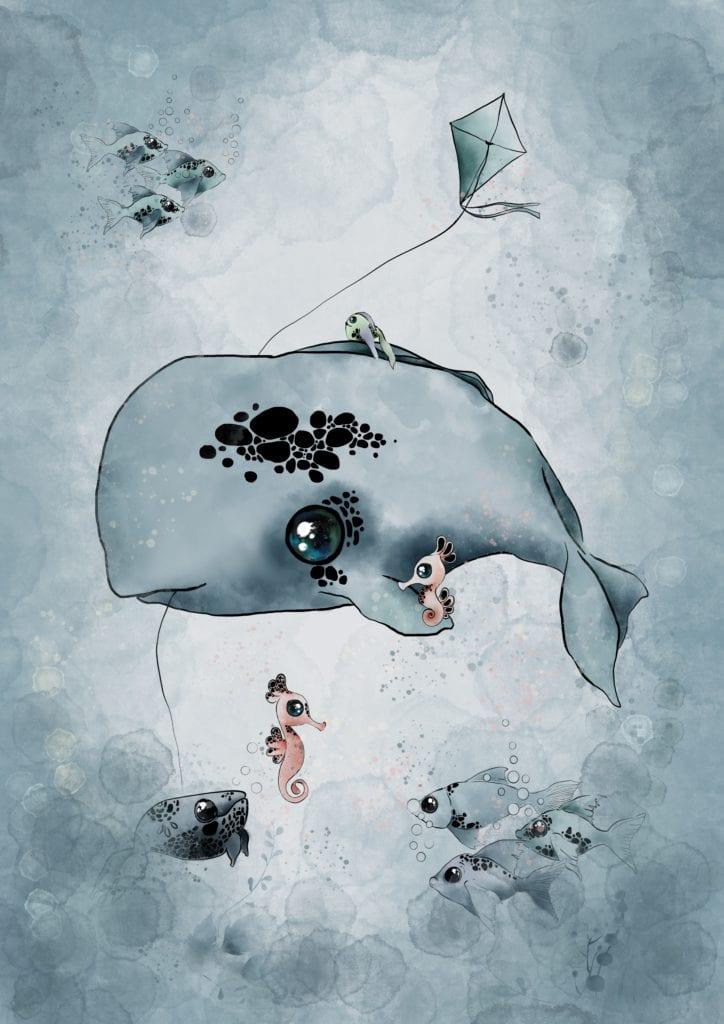 Ilustracja z wielorybem do pokoju dziecięcego
