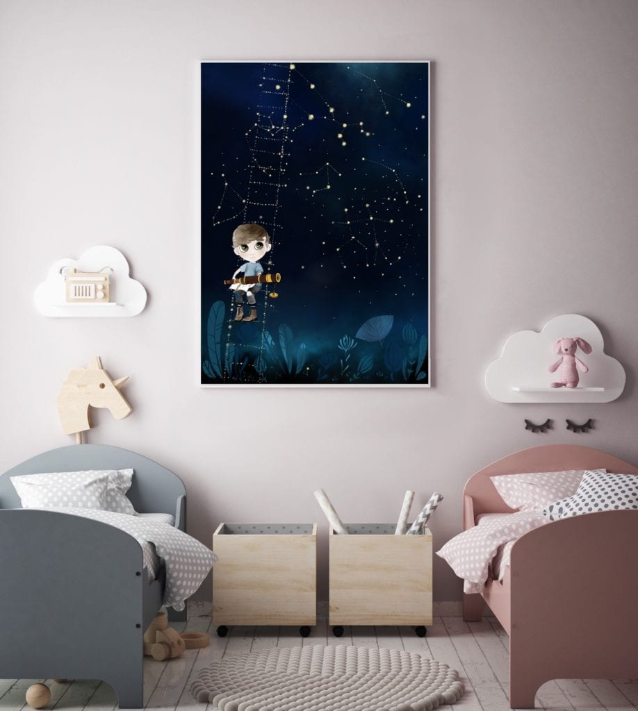 Plakat z małym podróżnikiem do pokoju dziewczynek