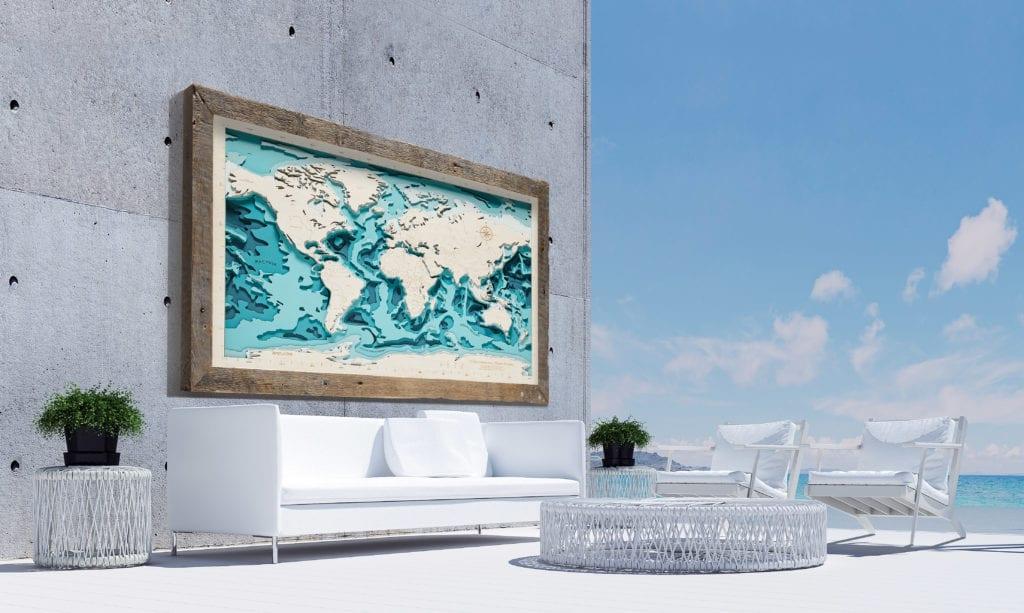 Avocado Pracownia Twórcza - trójwymiarowe Mapy Morskie - Duża drewniana mapa świata z niebieskim morzem