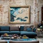 Avocado Pracownia Twórcza- Trójwymiarowa mapa morska - Europa ceglanej ścianie