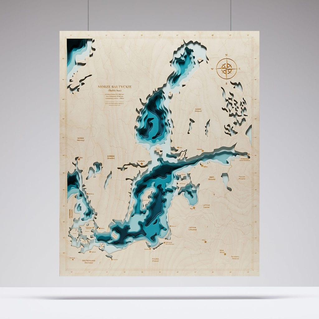 Trójwymiarowa Mapa Morska - Niebieski Bałtyk - Avocado Pracownia Twórcza