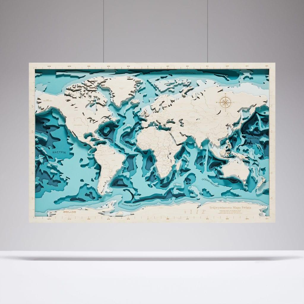 Trójwymiarowa Mapa Morska - Świat - AvocadoPT