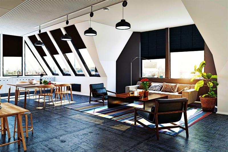 Salon połączony z jadalnią z podłogą w kolorze niebieskim