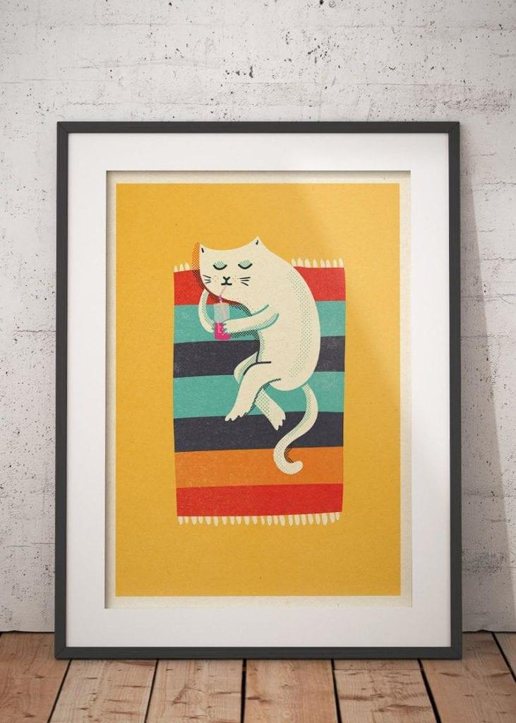 Propozycja prezentu na dzień matki - plakat od wall being z kotem