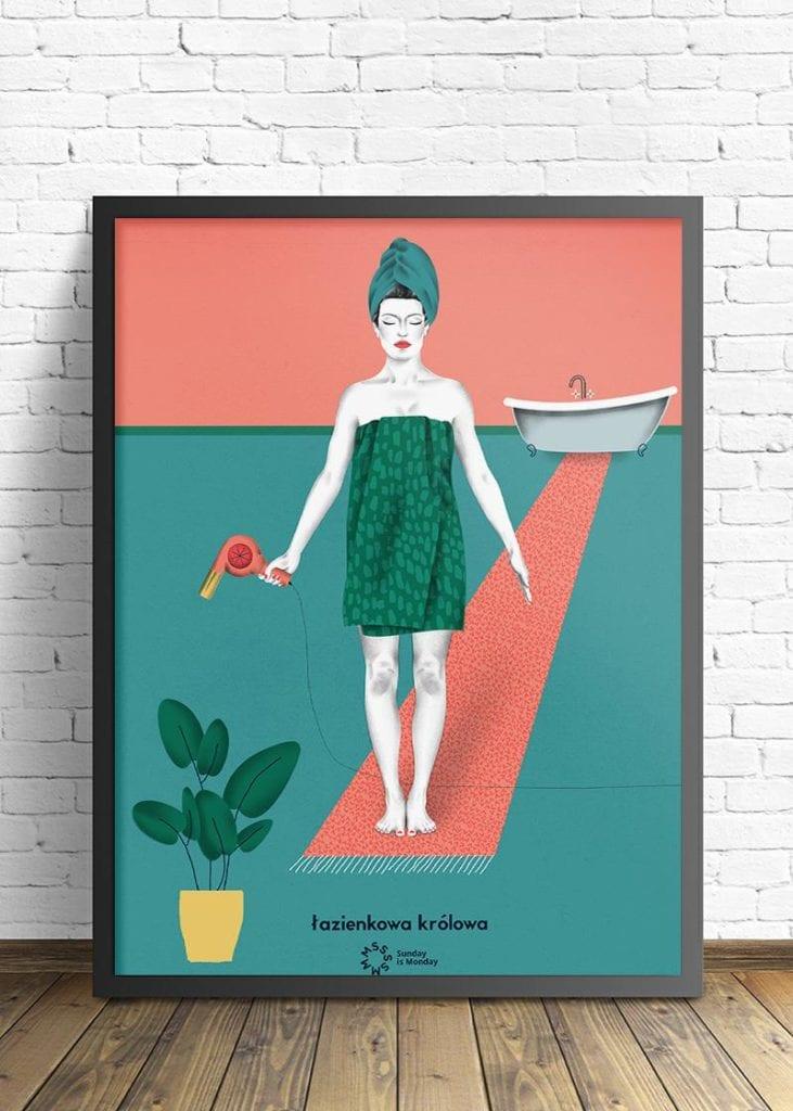 """Propozycja prezentu na dzień matki - plakat od wall being """"łazienkowa królowa"""""""