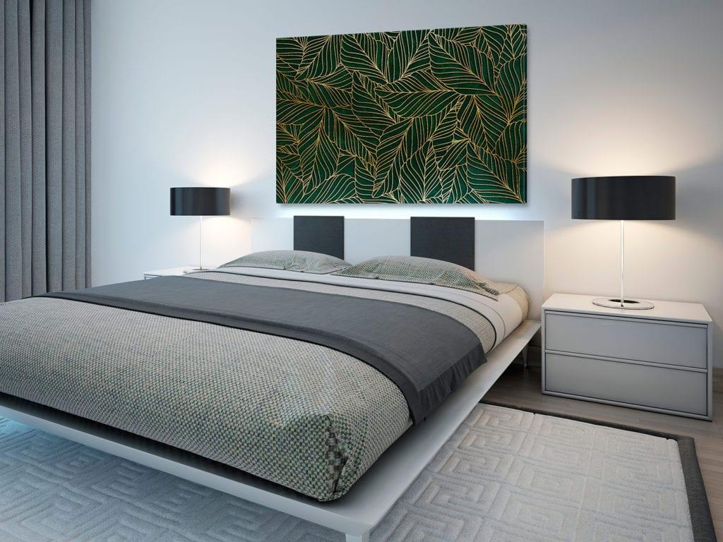 Vaku-dsgn obrazy drukowane na płótnie - obraz z zielono-złotymi liściami