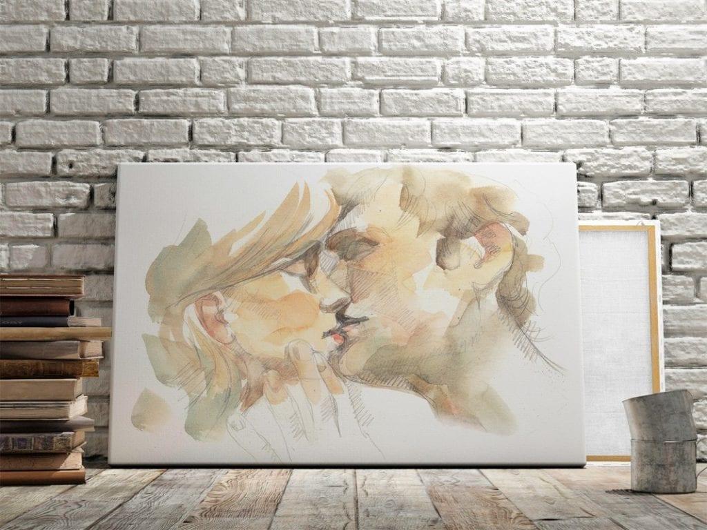 Vaku-dsgn obrazy drukowane na płótnie - obraz z całującą się parą