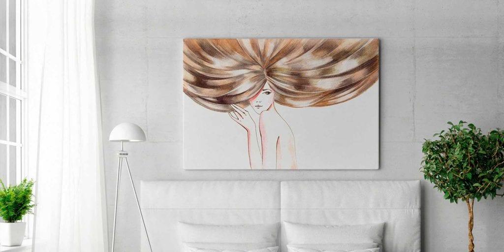 Vaku-dsgn obrazy drukowane na płótnie - obraz z kobietą z rozpuszczonymi włosami