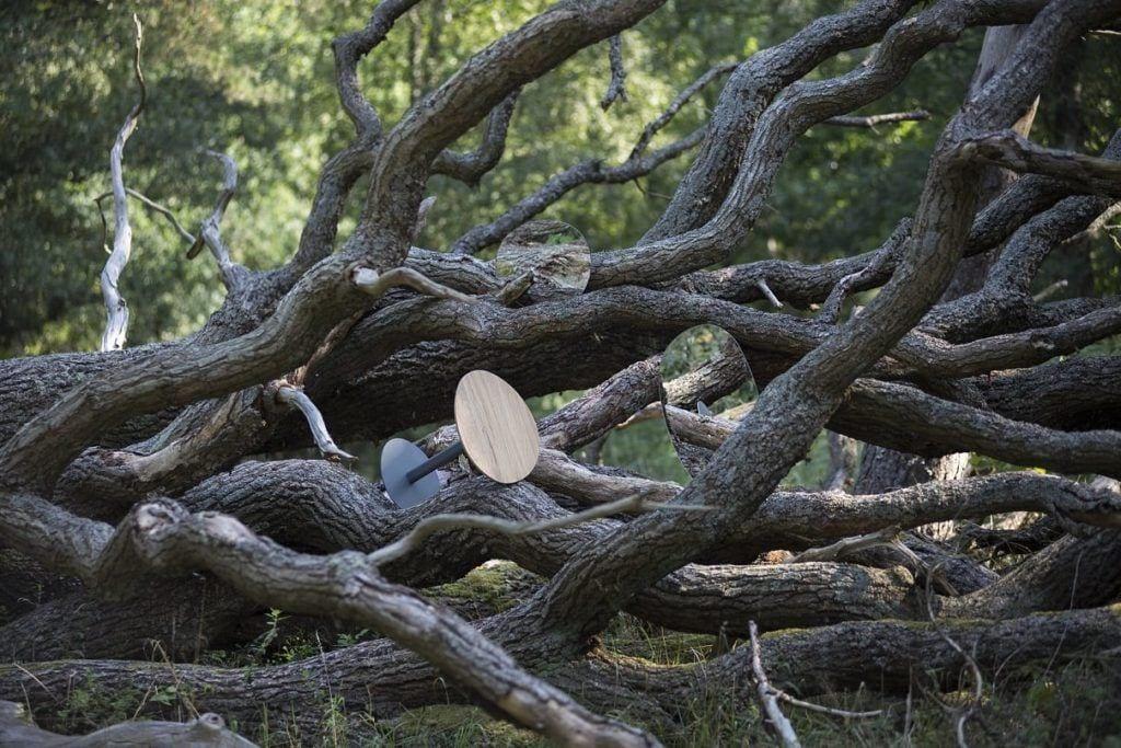Stoliki od polskiej marki My Modern Home stojące w lesie