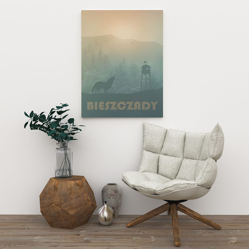 Plakaty Hunny Bagder inspirowane podróżami - plakat Bieszczady